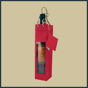 Gift Tote - Tall Single with Window - Red